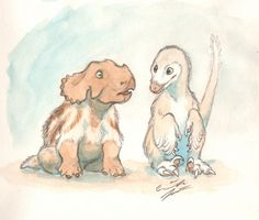 """Have some baby dinosaurs. liatai answered your question """"Yup, we have officially hit springtime here in Finland. There's still…"""" """"Who are the youngest members of the Herd, both two-legged and four-?"""" A baby portrait of the herd's two youngest members. Dinosaur Time, Dinosaur Art, Prehistoric Creatures, Mythical Creatures, Character Illustration, Illustration Art, Dinosaur Pictures, Dinosaur Drawing, Baby Dinosaurs"""