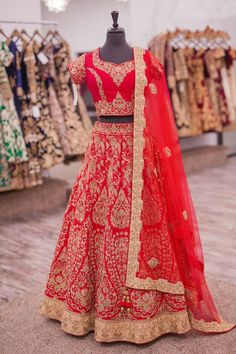 Embroidered Lehnga -Red