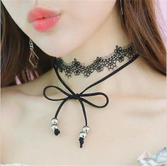 2017 Black Ribbon Wide Velvet Choker Necklace Tassel Lace Bow Chocker For Women Long Leather Necklace Jewelry Collier Femme Cheap Choker Necklace, Lace Necklace, Lace Jewelry, Leather Necklace, Collar Necklace, Charm Jewelry, Fashion Necklace, Lace Bows, Gothic
