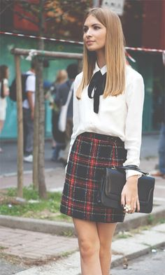 school style - plaid skirt