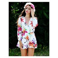 Floral Print Long Sleeves Chiffon Beach Playsuit (€31) found on Polyvore featuring jumpsuits, rompers, jumpsuit, playsuit romper, beach jumpsuit, floral romper jumpsuit, floral romper and beach rompers