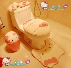 The new Hello Kitty love toilet sets of pink three-piece mat toilet mat + toilet seat the potty pad - Taobao