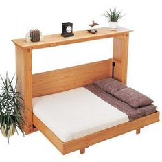 Rocklers Folding Murphy Bed Plan for Full and Queen Side Mount Hardware - Rockler Woodworking Tools Full Size Murphy Bed, Murphy Bed Plans, Space Saving Beds, Space Saving Furniture, Ikea Furniture, Cama Murphy, Murphy-bett Ikea, Fold Down Beds, Hideaway Bed