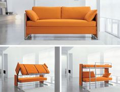 This sofa bed/bunk bed combo seems like it was dreamed up by a designer who grew up watching the Transformers cartoon. The seemingly innocuous sofa goes from mild-mannered sitting place to totally awesome bunk bed in mere seconds. More than meets the eye, indeed. For studio apartments or small guest rooms, this is an essential piece of furniture.