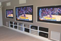 Oh, the possibilities! There are many choices for which game to watch in this man cave.