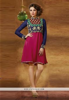 Blue And Violet Color Georgette Fabric Party Wear kurti-48941