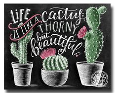 Kaktus-Druck, saftig Druck, Kaktus-Kunstdruck, Kaktus-Wand-Kunst, Leben ist wie ein Kaktus, Kaktus-Dekor, Kreidekunst, Tafel,