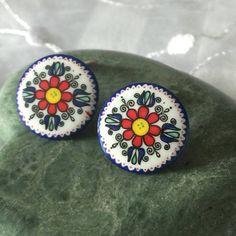 Vintage Enamel Button Earrings Button Style Clip on Earrings