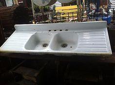 Architectural Salvage  Cast Iron  Porcelain Farm Kitchen Sink (Double Drain)