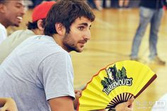 Ricky Rubio hanging in China with a Wolves fan.
