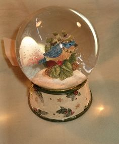 Williraye Studio Vintage Collection Bluebird Snowglobe