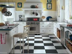Crisp black-and-white checkerboard floors bring an updated vintage vibe. The resilient surface is soft and warm underfoot. Shown: Armstrong AlternaTM vinyl tile. Photo courtesy of Armstrong