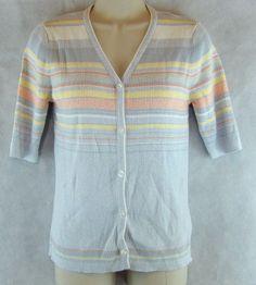 Norton Studio Button Down Short sleeve Shirt / Cardigan Striped Size M…