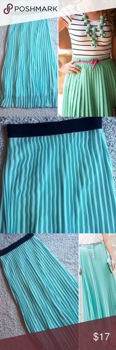 Pleated Maxi Skirt Sky blue/turquoise blue. Black elastic waist-band. Maxi length. Fully lined. Accordion style pleats in a chiffon overlay. Great condition. Size small. lavish Skirts Maxi