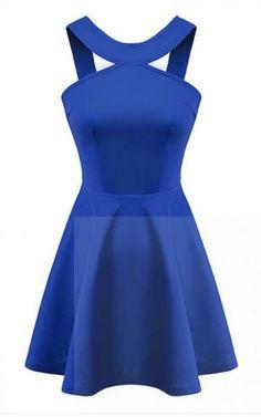 A-line Plain Round Neck Sleeveless Dress