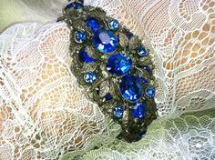 Bohemian Blue Czech Boho Bridal Bracelet by WillowBloom on Etsy, $180.00