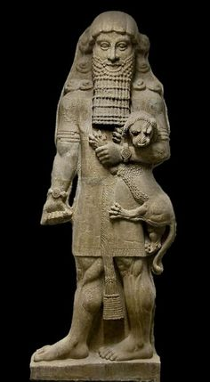 Gilgamesh and lion - statue from Mesopotamian culture