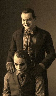 Jack Nicholson and Heath Ledger as the Joker