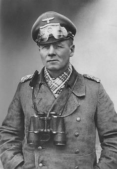 Field Marshal Erwin Rommel (1891-1944), popularly known to both sides as the Desert Fox (Wüstenfuchs), somewhere in North Africa (ca. 1942). Rommel is regarded as having been a humane and professional officer. His Afrikakorps was never accused of war crimes, and captured Allied soldiers were reported to have been treated humanely. In all theaters of his command, he ignored orders to kill captured commandos, Jewish soldiers, and civilians.