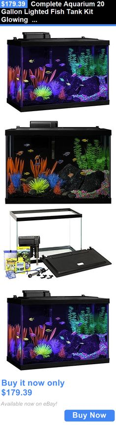 Animals Fish And Aquariums: Complete Aquarium 20 Gallon Lighted Fish Tank Kit Glowing Plants Filter Heater BUY IT NOW ONLY: $179.39