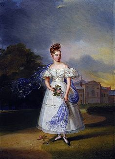 1832 - Queen Victoria when a girl by Alexandre-Jean Dubois Drahonet (Royal collection). This portrait shows 1832 dress much as it is seen in fashion plates of the day with a shorter skirt (it could be called a midi), huge lace epaulettes, a wide waist band, a pleated bodice, and a coiffure topped by a big knot. She wears a diaphanous over-skirt decorated with silver bands.