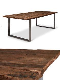 Impero: tavolo legno massello di castagno con taglio tronco e gambe ...