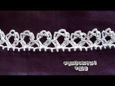 Yeni Tığ Oyası Tülbent Modeli - Crochet Lace Scarf New Model - YouTube