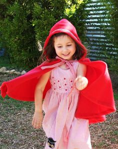 Little Red Riding Hood Costume-  Red Hooded Cape- Imagination Dress up- Halloween. $40.00, via Etsy.