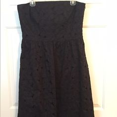 Ann Taylor Strapless Eyelet Flower Overlay Dress Beautiful Ann Taylor Black Cotton Strapless Flower Eyelet Lace Overlay Size 14 Side zip with adjustable elastic clasp bra  Ann Taylor Dresses