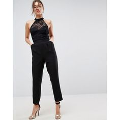 fe0e4a31673b ASOS Lace Top Jumpsuit with Halter Neck (£29) ❤ liked on Polyvore featuring