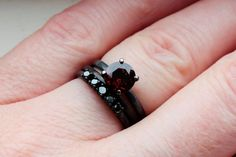 1.5 Plus CTW Garnet and Black Diamond Wedding Ring Set in Oxidized Sterling Custom Made to Order in Your Size