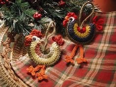 DOWNLOADABLE PDF PATTERN  Crocheted Rooster Ornaments by buckster