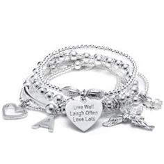 This gorgeous Annie Haak Sama My Guardian Angel Bracelet Stack with the motto charm 'Live Well, Laugh Often, Love Lots' is the perfect motto to live by or makes a beautiful gift. Silver Charm Bracelet, Silver Bangle Bracelets, Silver Charms, Charm Jewelry, Jewelry Gifts, Silver Jewelry, Bangles, Jewellery, Couple Bracelets