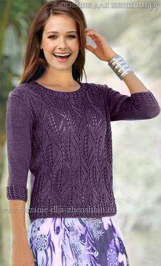 Openwork Pullover / Handwork Art - Diy C - Diy Crafts Sweater Knitting Patterns, Lace Knitting, Knitting Stitches, Knit Crochet, Diy Crafts Knitting, Summer Knitting, Crochet Summer, Knitting Accessories, Knit Fashion