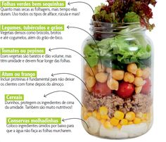 salada no pote Raw Food Recipes, Veggie Recipes, Healthy Recipes, High Protein Smoothies, Good Food, Yummy Food, Vegan Meal Plans, Salad In A Jar, Charcuterie