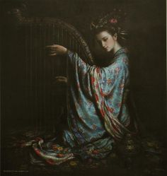This hub showcasts the amazing works of Zeng Hao, the DunHuang Fei Tian series that depcit oriental goddess and angels. Modern Art Paintings, Portrait Paintings, Oil Paintings, Realistic Paintings, Large Wall Art, Canvas Wall Art, Dunhuang, Art Asiatique, Chinese Art