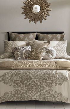 Taupe and gold bedding set.