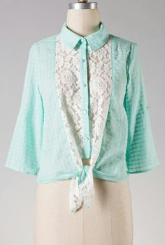 Sunday Drive Lace Inserted Button Blouse in Mint Green  $32.99