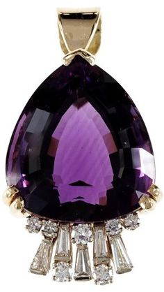 14K Yellow Gold Reddish Purple Amethyst Diamond Pendant. Amethyst jewelry. I'm an affiliate marketer. When you click on a link or buy from the retailer, I earn a commission.