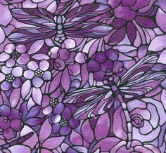 Purple Floral Stained Glass with Dragonflies, Twilight Garden by Fabric Freedom
