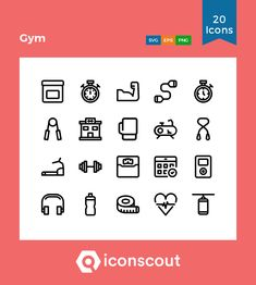 Gym  Icon Pack - 20 Line Icons Gym Icon, Icon Collection, Icon Pack, Line Icon, Icon Font, Mobile Application, Web Design, Icons, Fitness