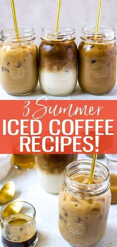 These 3 Iced Coffee Recipes are sure to please during the summer months! Find out how to make an iced vanilla latte, iced mocha and iced caramel machiatto. The three homemade syrups you'll make will last in the fridge for more summer coffee drinks! Iced Coffee Drinks, Coffee Drink Recipes, Dessert Recipes, Healthy Coffee Drinks, Summer Drink Recipes, Best Summer Drinks, Frozen Summer Drinks, Frozen Coffee Drinks, Smoothie Recipes