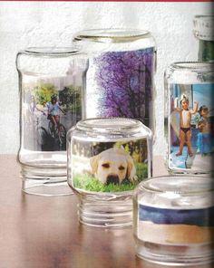 Envases de cristal como porta fotos