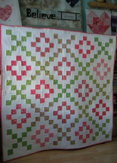 Pink & Green Hugs & Kisses Baby Quilt ... by Scrapatches --how cute! Needs some jumbo ric rac sewn in around the border!