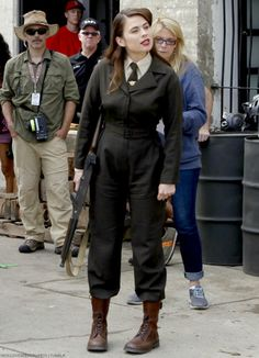 """iwouldvebeendrake01: """"Hayley Atwell on the set of Agents of SHIELD (Season 2, Episode 1: """"Shadows"""" """""""