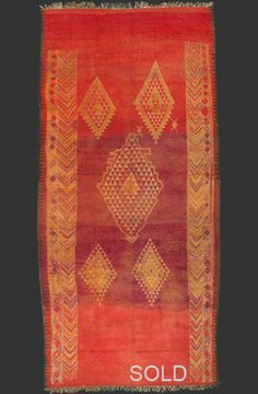 TM 1873, fine + early Ahmar or Oulad bou Sbaa pile rug, Haouz, Moroccan central plains, 1920s/30s, 330 x 155 cm (10' 10'' x 5' 1''), ex. collection Frank Hall (parts of this collection are today in the property of the Indianapolis Museum of Arts), p.o.a.