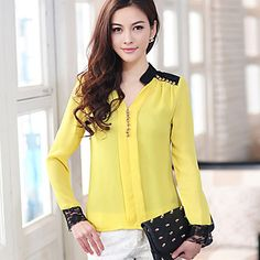 Camisa das mulheres emenda Lace Chiffon – BRL R$ 91,41 Fashion 2017, Fashion Models, Sewing Blouses, Business Casual Outfits, Chiffon Shirt, Dress Patterns, Casual Chic, Church Dresses, Clothes For Women