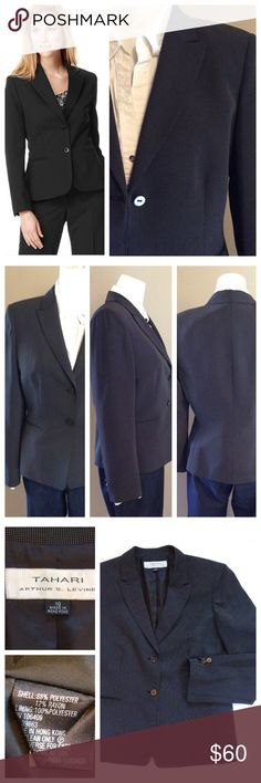 "Tahari Dual Button Blazer This is a stunning blazer in excellent condition. Front pleating creates gorgeous hourglass shape. Two front button closure, slit pockets and full lining. Beautiful black fabric blend. Size 10, Measurements when laying flat: 19.5"" chest, 17"" waist, 19"" hip and 24.5"" total length. Tahari Jackets & Coats Blazers"