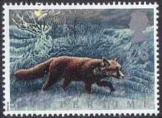 The Four Seasons. Wintertime 28p Stamp (1992) Fox in the Fens