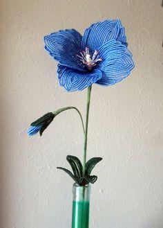 Himalayan Poppy  French Beaded Flower by DeesBeadedFlowers on Etsy